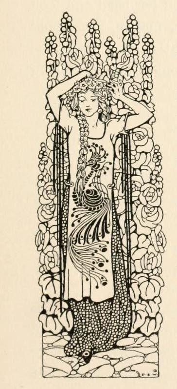 """Peacock's Garden"" illustration by Dugald Stewart Walker."