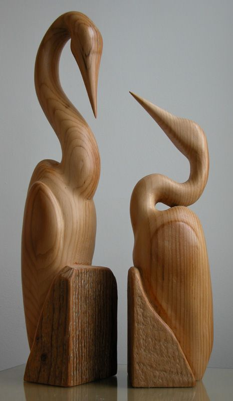 sculpture bois heron