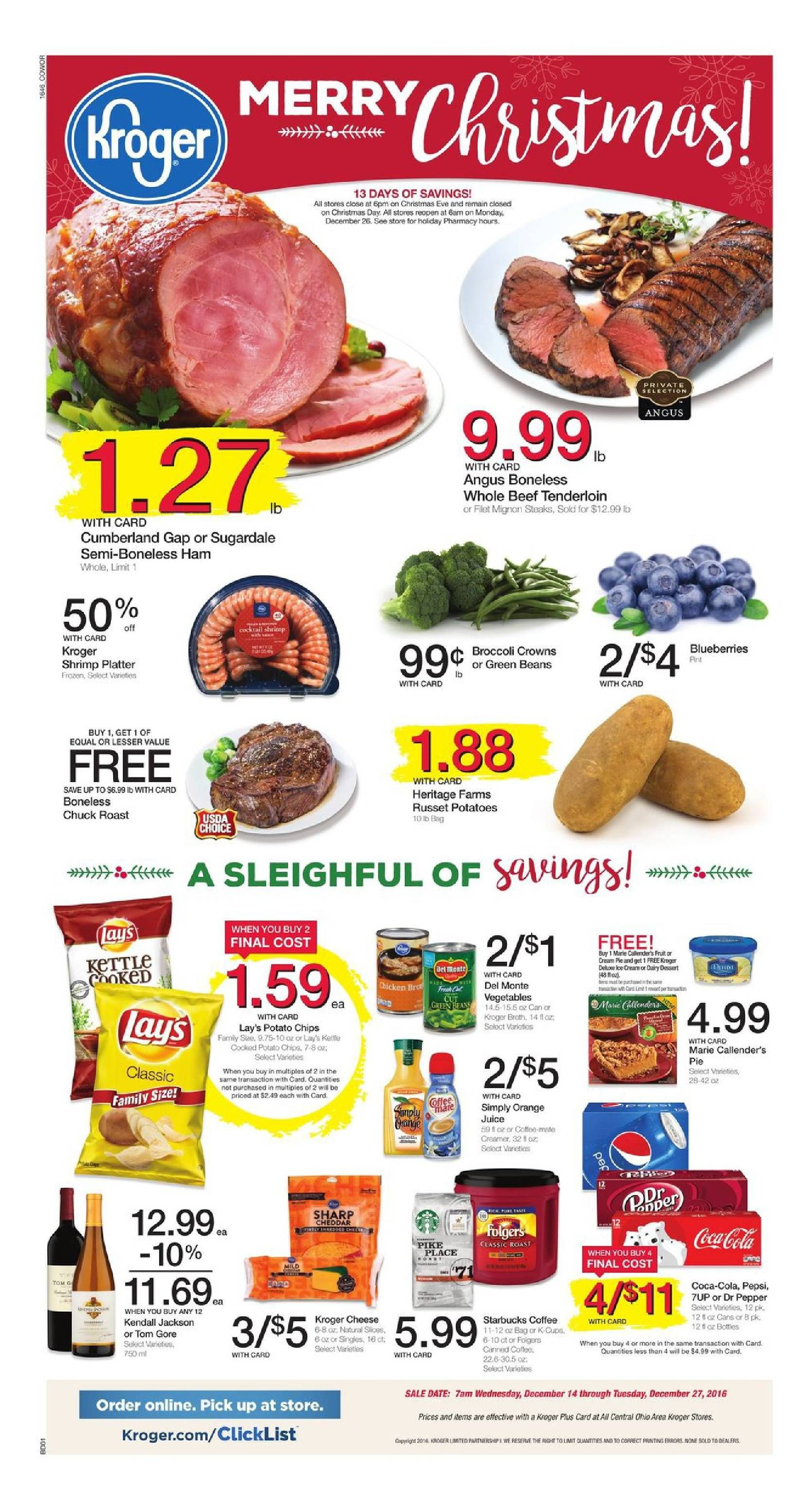 Kroger Weekly Ad December 14 - 27, 2016 - http://www.olcatalog.com/grocery/kroger-weekly-ad.html
