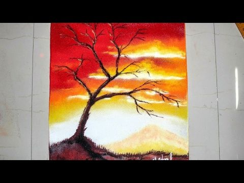 Sunset Scenery Rangoli Designs With Colours For Diwali