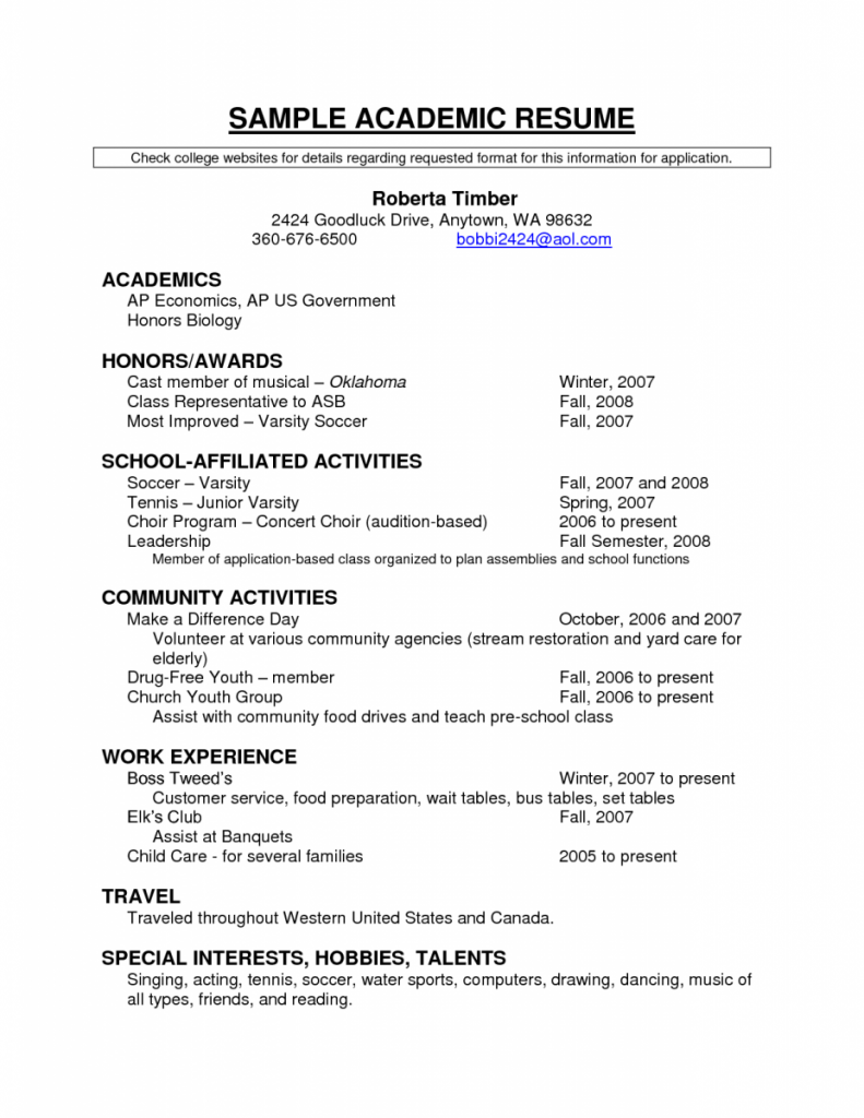 sample resumes for college academic awards