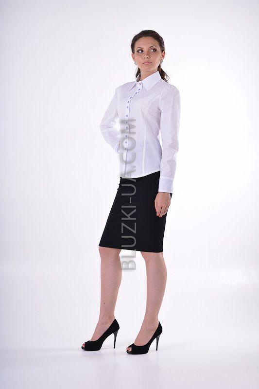 d8ba3d39bf39 Женская блузка из батиста с лавандовыми отворотами на рукавах - купить в  Украине. Интернет-