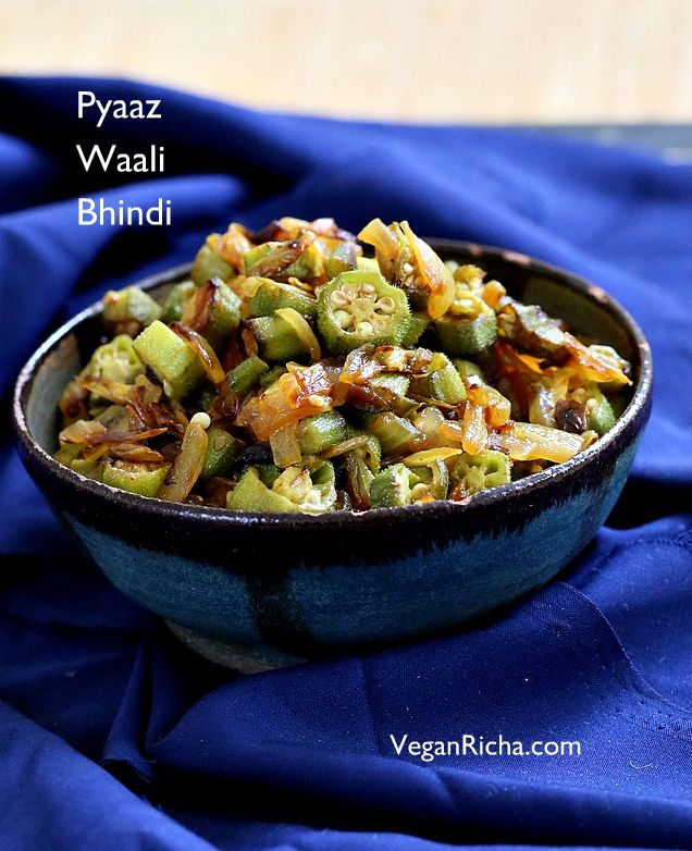 Indian Okra And Onion Stir Fry Moms Pyaaz Waali Bhindi Subzi Vegan Glutenfree