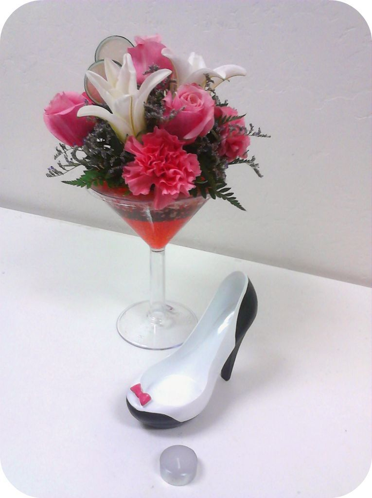 Martini Flower arrangement! Perfect for a birthday or just for fun ...