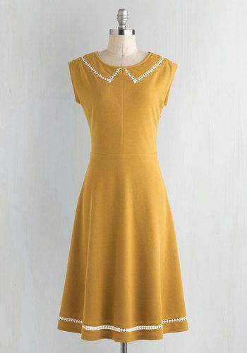 Author Outings Dress in Goldenrod. Relish a stylish trip into town for bookstore errands and publisher meetings in this goldenrod frock! #yellow #modcloth