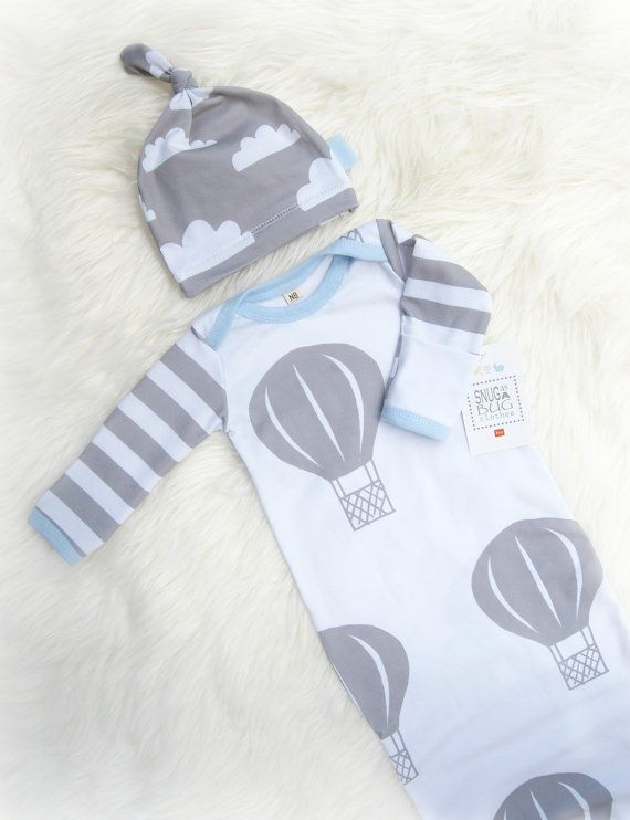 Up, up, and Away.....!  Fun, modern air balloon outfit! Gray and White! Trimmed in sky blue! **Please note that this is a made to order set,