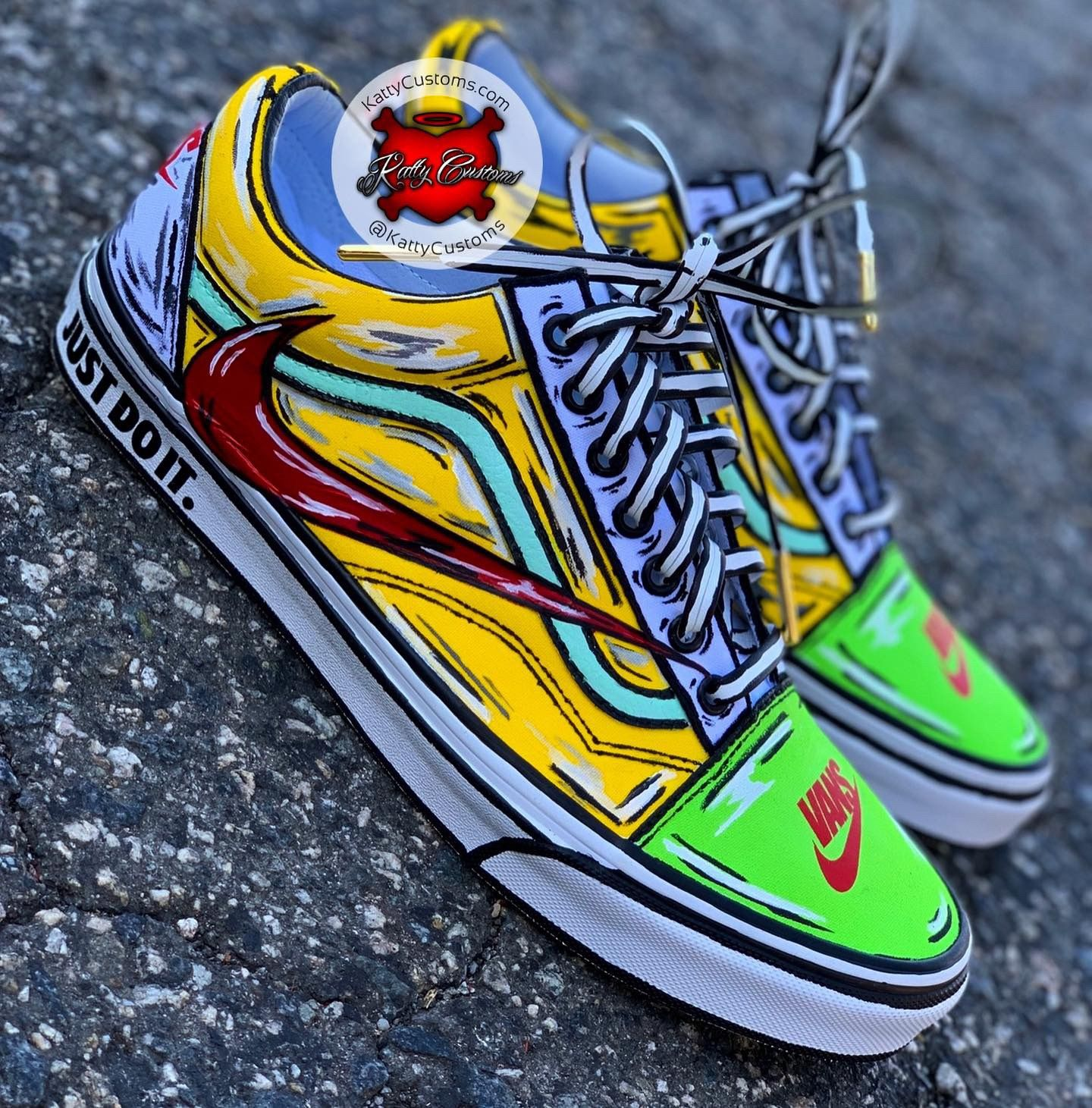 Custom Cartoon Nike X Vans Collab In 2020 With Images Custom