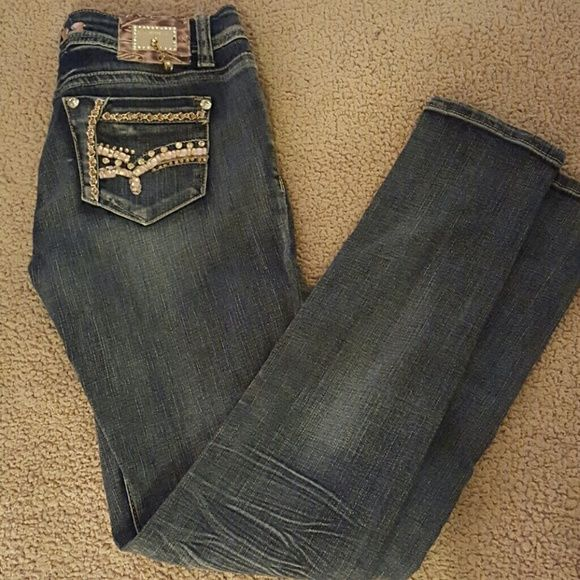 L.A. Idol USA Sexy embellished jeans with pink stones! Skinny jeans, great with boots or sexy heels!  Waist 30,  length 31 Jeans Skinny
