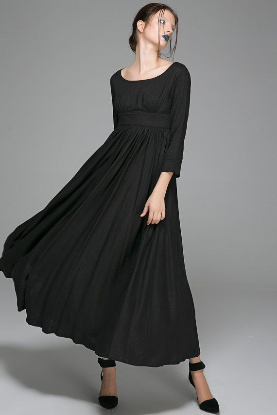 b3fd57566b4351 Black Maxi Linen Dress - High-Waisted Fit   Flare Long Party or Evening  Women s Dress (1394)