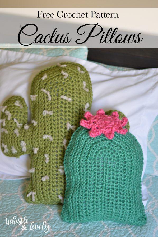 Crochet Cactus Pillows - Free Crochet Pattern | Pinterest | Kaktus ...