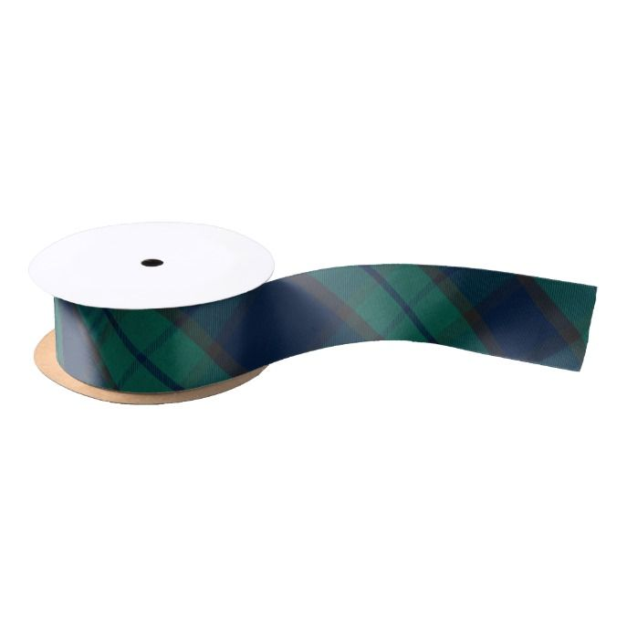 Black Watch Tartan Plaid Blue Green Satin Ribbon #xmas #ribbon #christmas #giftwrap