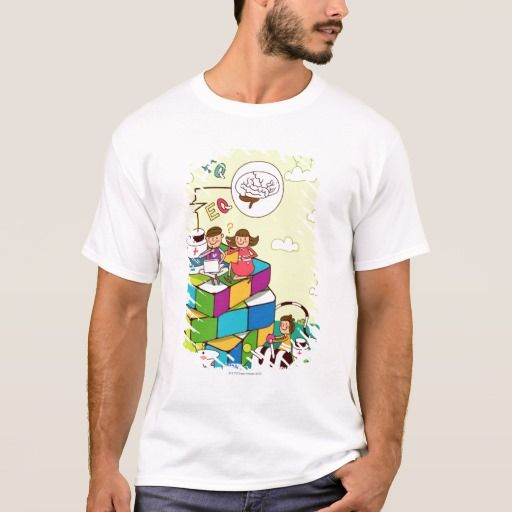 Boy with a girl sitting on a Rubik's cube puzzle T-Shirt. Producto disponible en tienda Zazzle. Vestuario, moda. Product available in Zazzle store. Fashion wardrobe. Regalos, Gifts. #camiseta #tshirt #programmer #nerd #sheldon