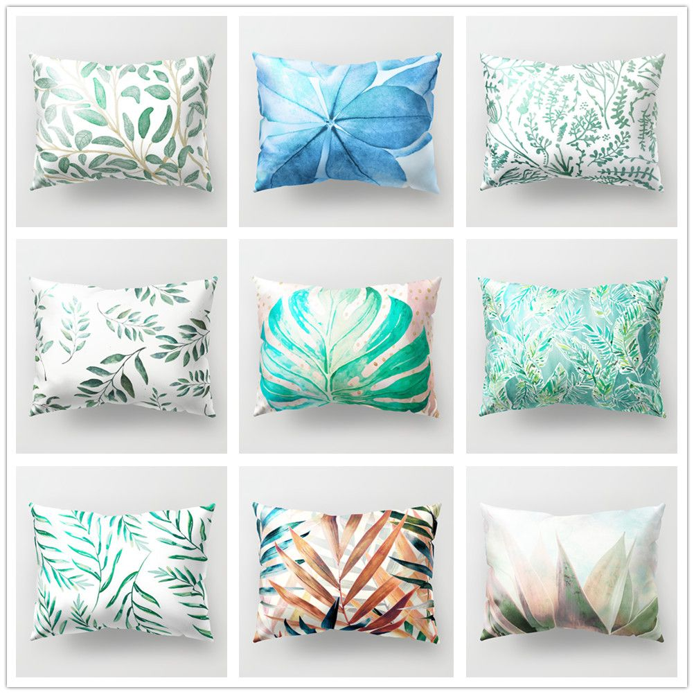 plants leaves polyester cushion cover