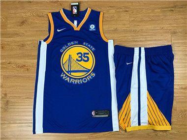 fd4db7862 Nike Warriors  35 Kevin Durant Blue Nike Swingman Jersey(With Shorts)   WarriorsWeek  DubNation  NBAFinals  WarriorsParade  WarriorsGround   Luckyjerseys ...