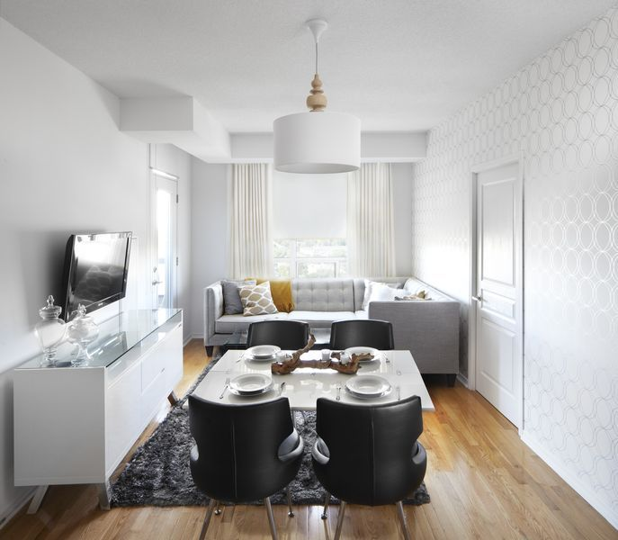 Best Open Concept Condo Dining Room With White Lacquer 400 x 300