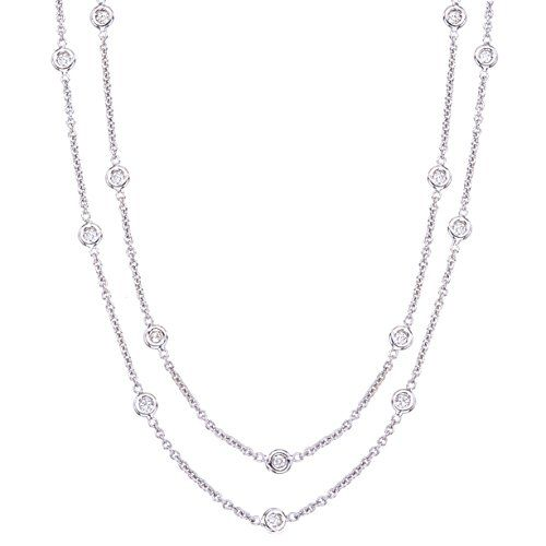 Unique 18k White Gold Diamonds By the Yard Long Station Necklace