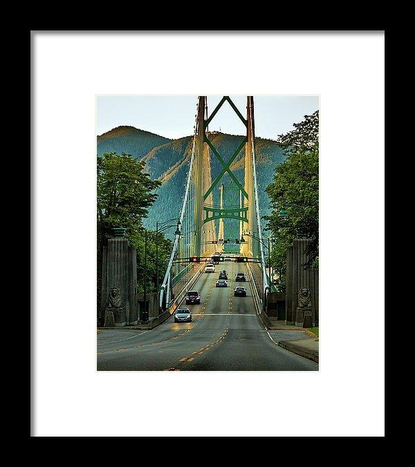Alex Lyubar Framed Print featuring the photograph Lions Gate Bridge At Sunset Time by Alex Lyubar #AlexLyubarFineArtPhotography#VancouverCanada#LionsGateBridge#Sunset#ArtForHome#FineArtPrints#HomeDecor#FineArtForSale