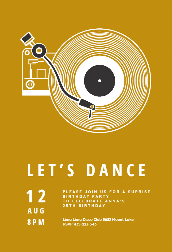 Music Record Player Invitation Template Customize Add Text And Photos Print Download