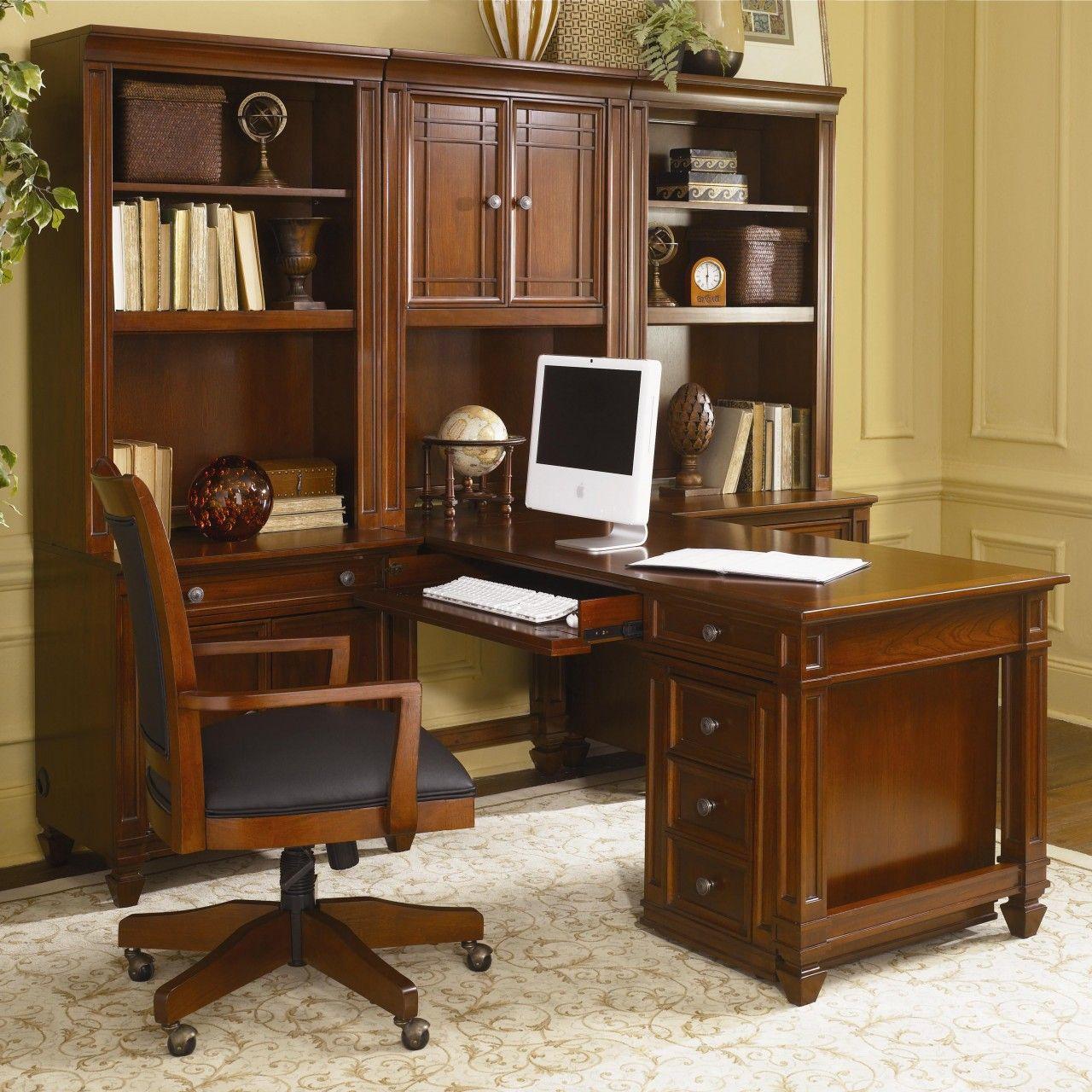 Lovely Wynwood Artisan 7pc Modular Desk Wall Unit In Auburn Cherry
