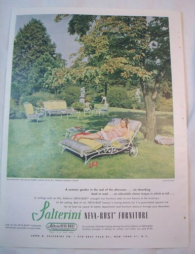 Salterini Neva Rust 1947 ad | Vintage Wrought Iron Patio Furniture ...