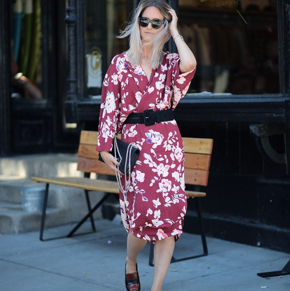 A Long Sleeve Dress With a Belt and Loafers