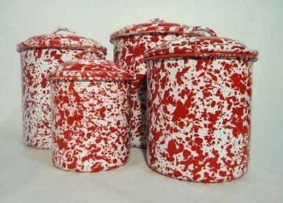 Enamelware Storage Canister Set Red Marble (03/02/2014)