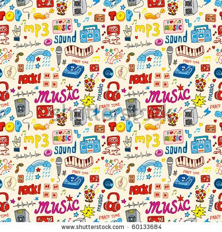 Stock Images Similar To Id 147184505 Hipsters Seamless Background Music Doodle Seamless Patterns Vector Illustration