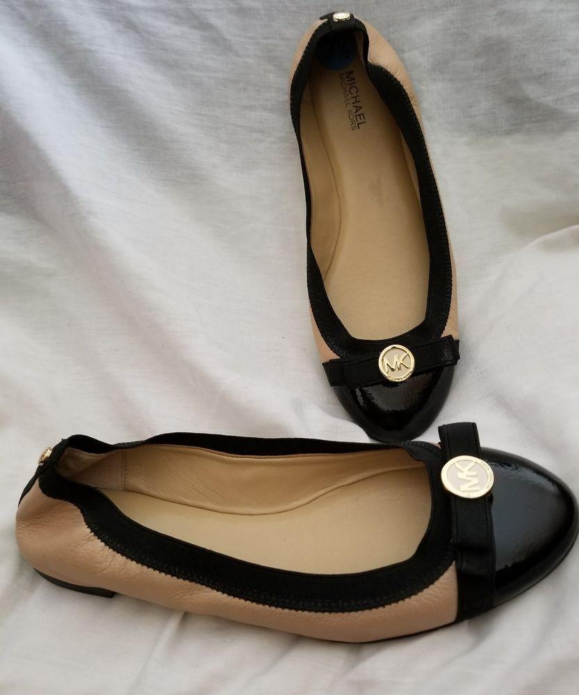 afdf96f08cb Michael Kors ballet flats 7.5 M Dixie nude leather black patent cap toe  logo  MichaelKors  BalletFlats SOLD