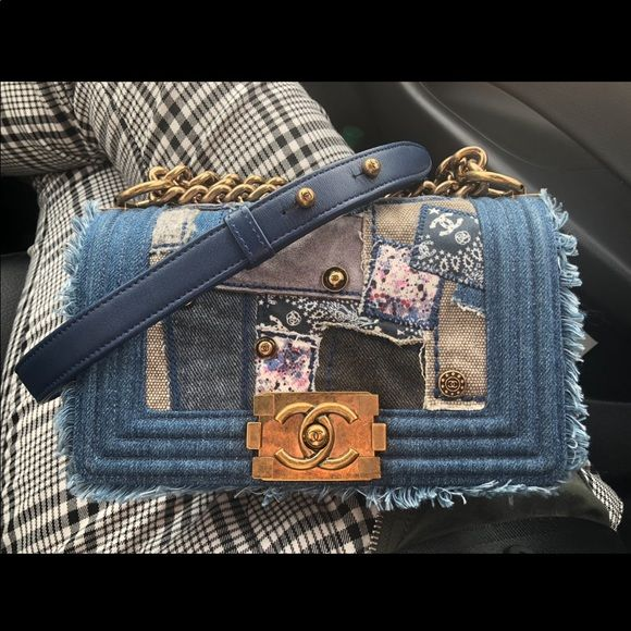 d5576b1fb0bf6c Chanel Denim Patchwork Small Boy Classic Flap Bag Rare and sold out  everywhere! Original price