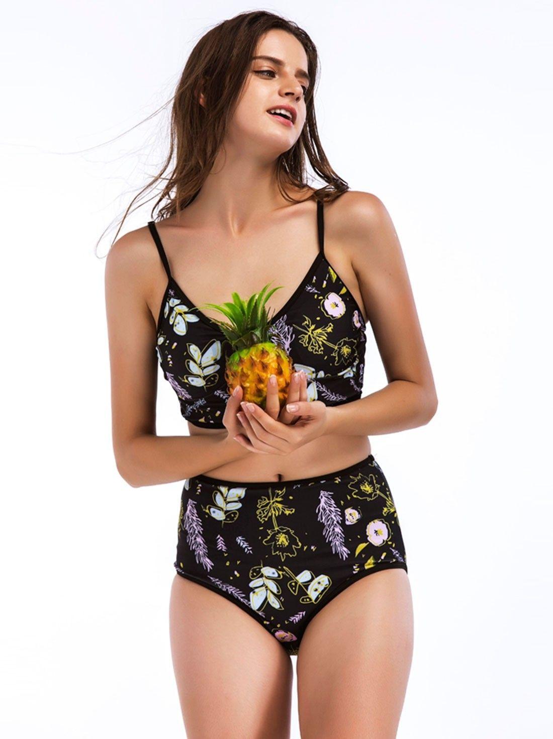 0115078dd7c75 Dresswel Women Sexy Floral Print Adjustable Spaghetti Straps Cold Shoulder  High Waist Two Piece Bikini Set Swimsuit $12.99 #dresswel #women #fashion  ...