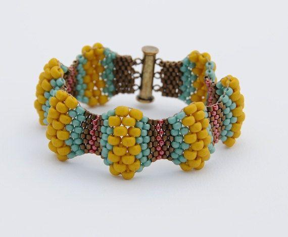 Mustard Wavy Peyote Stitch Bracelet by BeadleBot on Etsy