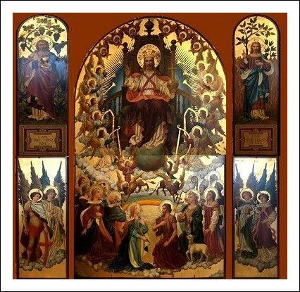 Polittico pala d'altare dipinto su tavola