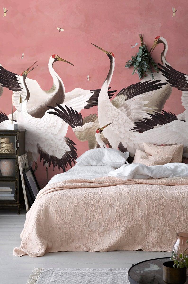 Heron Print Wallpaper Removable Peel And Stick Mural Japanese Gucci Chinoiserie Inspired Crane Wallpaper Temporary Self Adhesive Herons Print Wallpaper Mural Wallpaper