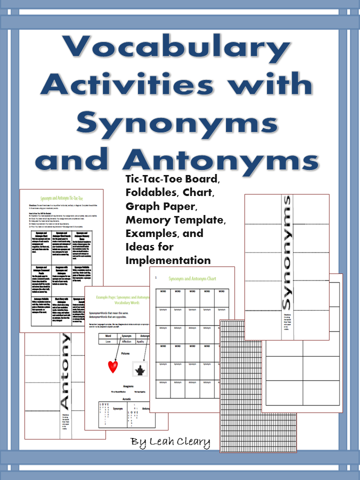 Vocabulary Activities With Synonyms And Antonyms  Tic Tac Toe