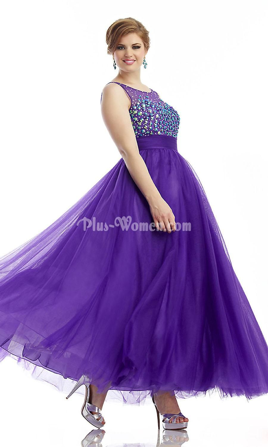 Open Back Beaded Bust Purple Long Plus Size Prom Dress in ...