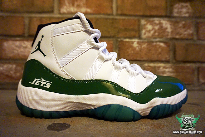 This Air Jordan 11 Jets Custom was designed by Fetti D'Biasi as a private  order to a client that is in love with the New York Jets. Using the Legend  Blue