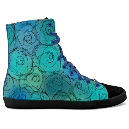Romantic roses in shades of blue, turquoise and green. Inspired by the Magic Island of Gotland, designed by Åsa Stenström, magicisland.se idxshoes.com - Hidden Wedge Hi-Tops