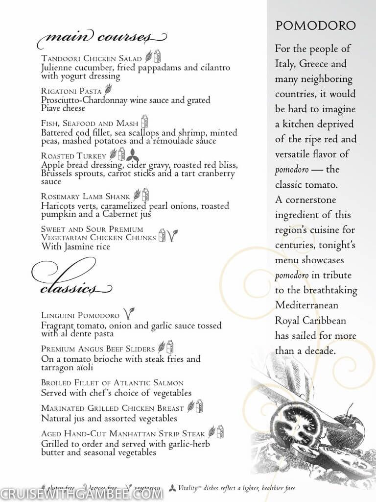 Complete 7 Days Royal Caribbean Main Dining Room Menus With Appetizers Main Entree And Desserts Royal Caribbean Royal Carribean Cruise Royal Caribbean Cruise