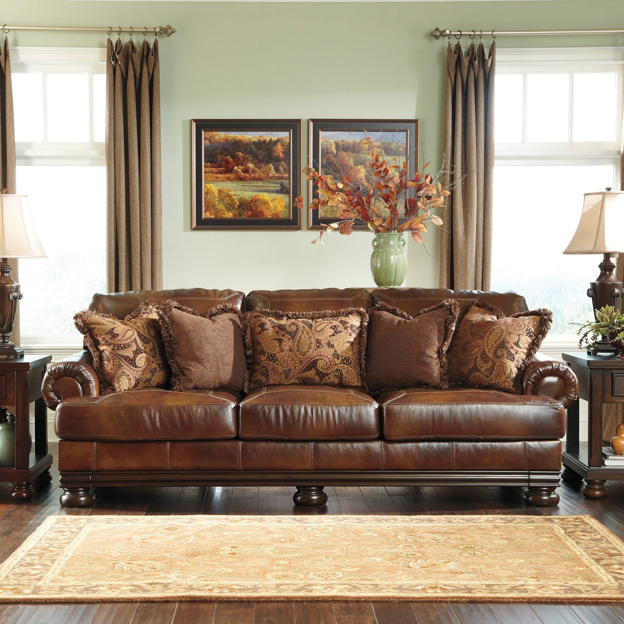 Leather Couch Living Room Signature Designs By Ashley Hutcherson Harness Brown Leather
