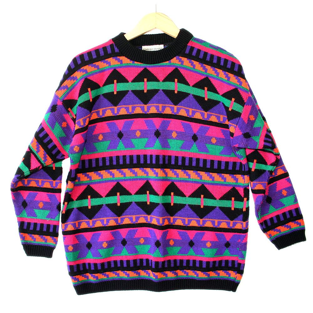 Vintage Aztec Design Sweater. Vintage Sweater. 80s Sweater. Ugly Sweater. Wool Sweater. Medium. Patterned. Ugly Sweater. Hipster. Sweater. kn5VIvnA0