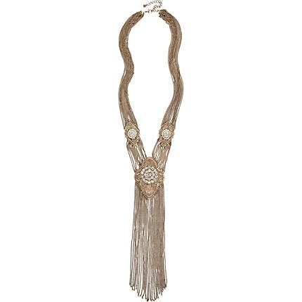 Gold tone diamante chain scarf-necklace - necklaces - jewellery - women £30