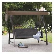 Garden Swing Seat with Canopy 3 Seater Patio Shade Wicker Chair Durable Porch & Garden swing bench - AGIO 3 SEAT CAPE TOWN WEAVE SWING CANOPY ...