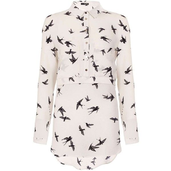 Dorothy Perkins **Quiz Bird Print Blouse ($39) ❤ liked on Polyvore featuring tops, blouses, black, long sleeve blouse, dorothy perkins, bird print blouse, long sleeve tops and bird print top