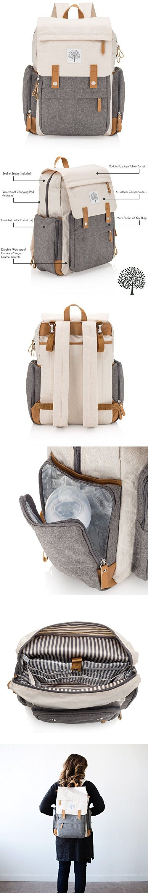 a3cc841be0 Parker Baby Diaper Backpack - Large Diaper Bag with Insulated Pockets,  Stroller Straps and Changing Pad -