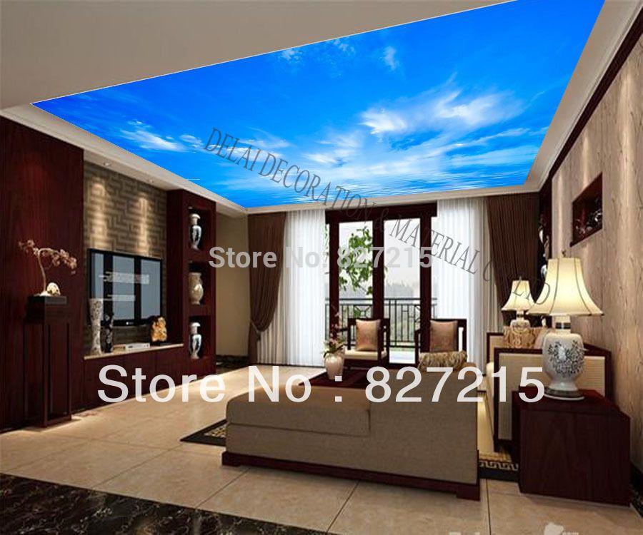 S-3610 blue sky pvc ceiling film famous led strip construction - plafond salle de bain pvc