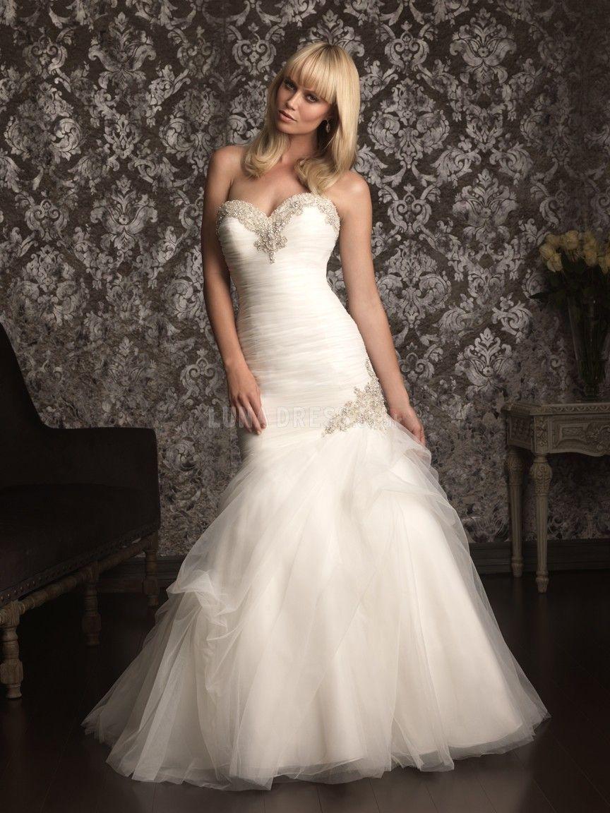 Luxurious mermaid sweetheart tulle sleeveless floor length bridal