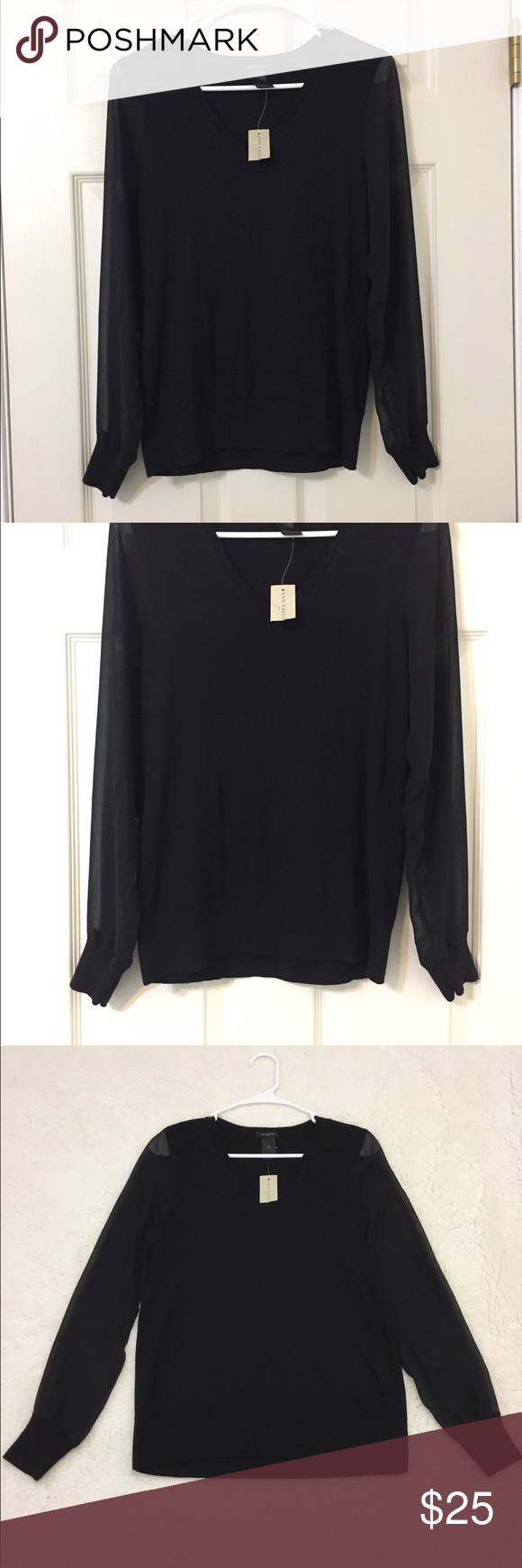 Ann Taylor Black Sweater with sheer long Sleeves Beautiful black ...