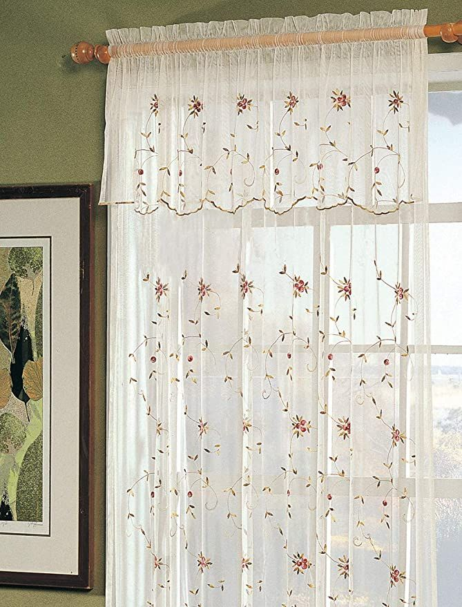 Amazon Com Creative Linens Embroidered Lace Roses Floral Window Curtain Panel With Attached Valance Beige One Piece K Lace Curtains Panel Curtains Curtains