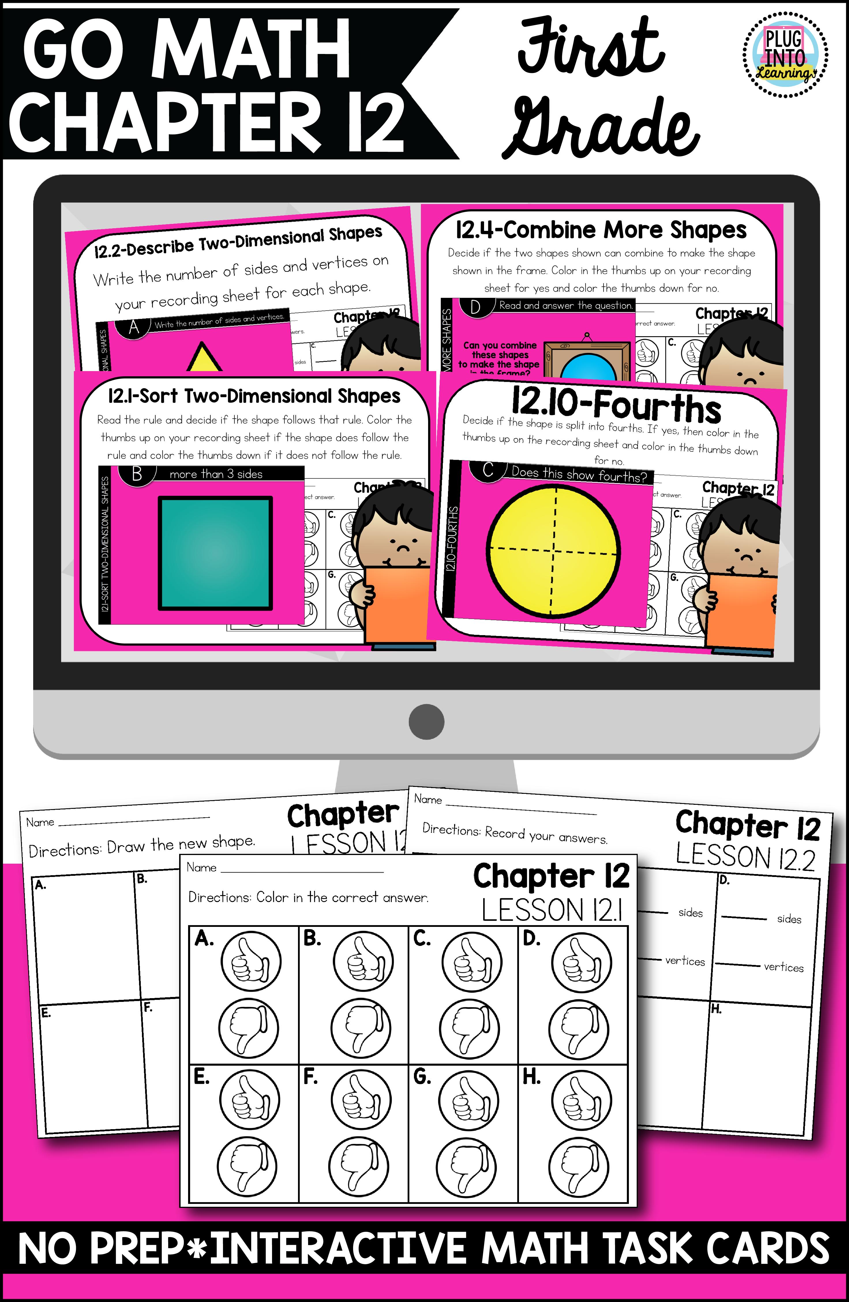 Go Math First Grade Digital Task Cards Two Dimensional