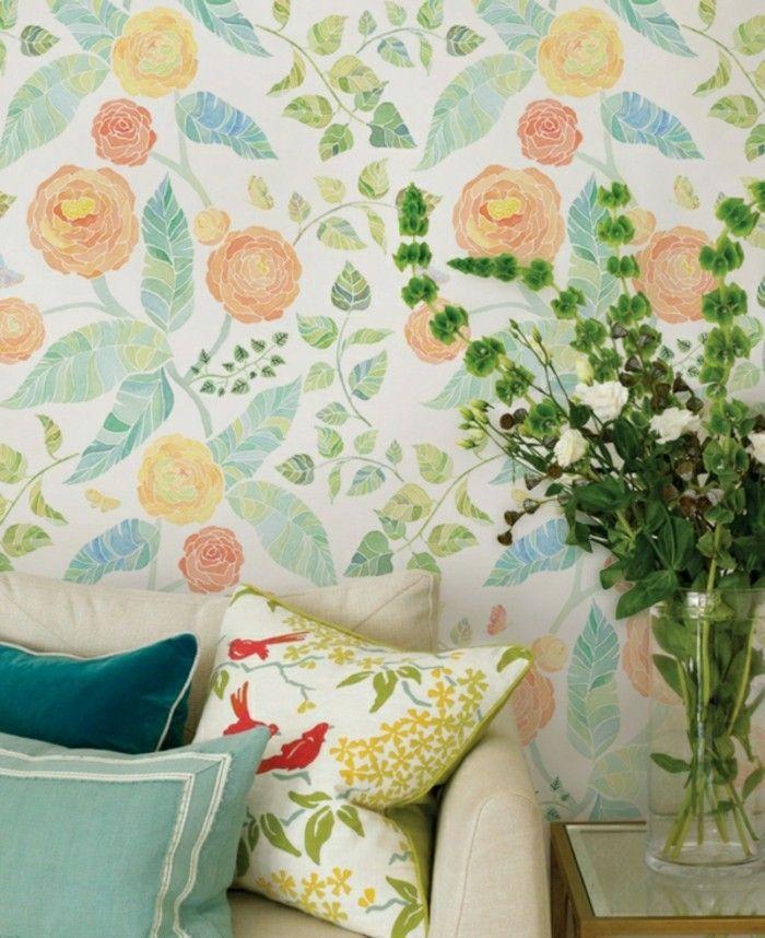 Wohnzimmer Tapeten Ideen Frisches Muster In Bunten Farben